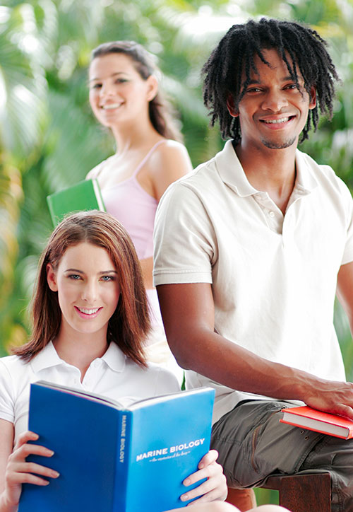 Students getting an online high school diploma