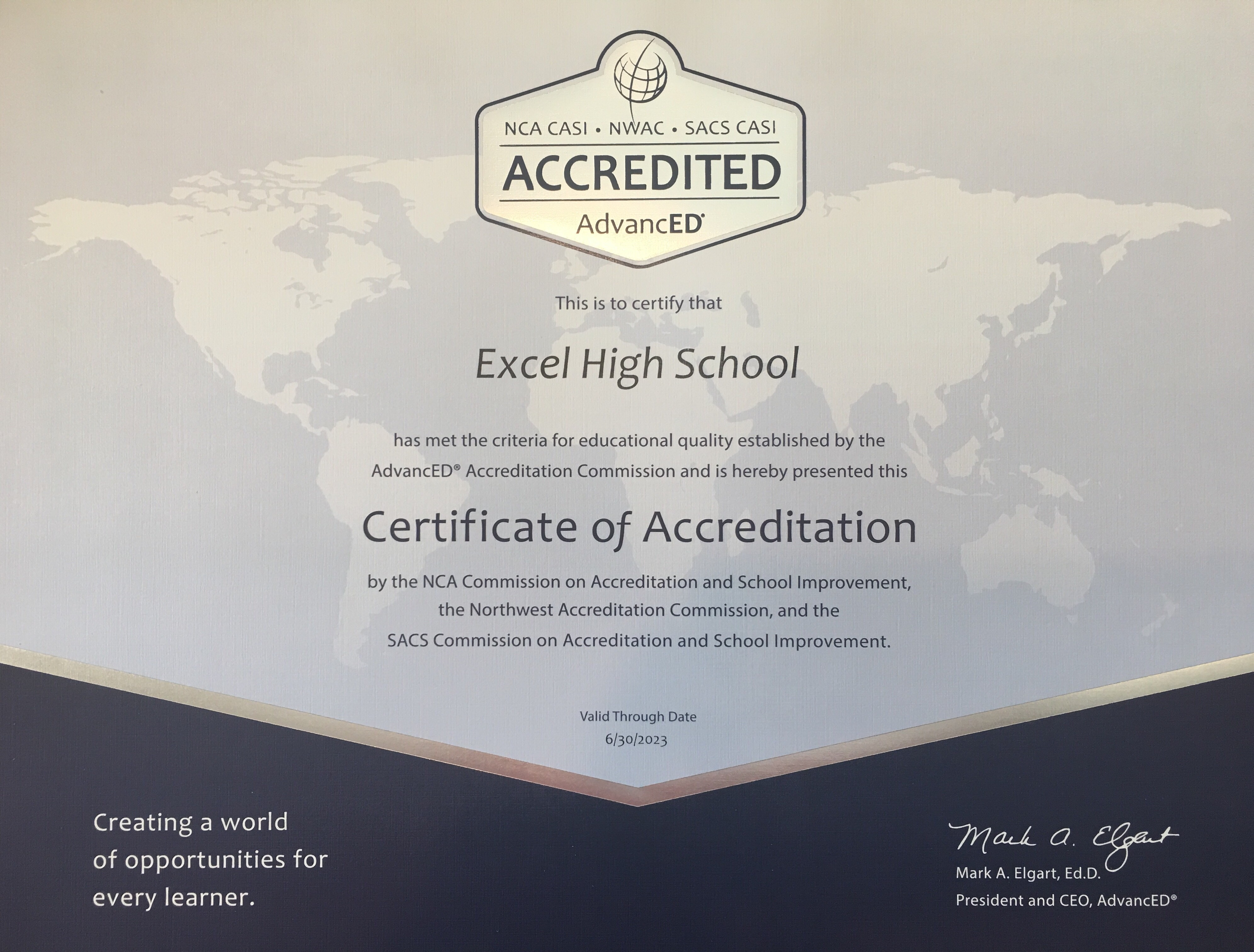 Excel High School Certificate 2018
